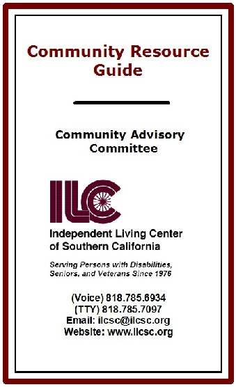 Community Resource Guide cover, larger version. Burgundy, black and white, with burgundy ILC logo.