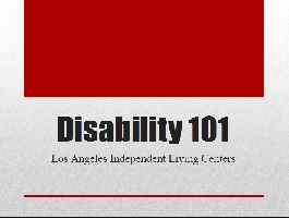 Disability 101 Cover. Red and gray.