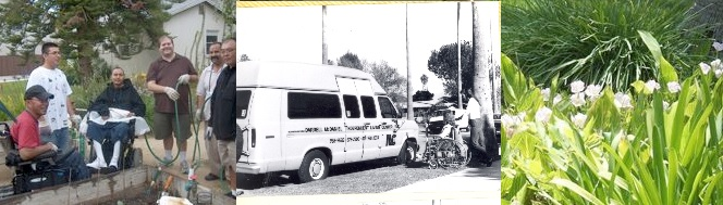 Three pictures side-by-side. Clients in Training House Garden, six men, two in wheelchairs; black and white photo of old ILCSC accessible van parked in front of ILCSC Van Nuys Service Office; man pushing girl in wheelchair towards van.