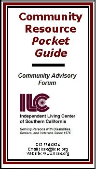 Community Resource Pocket Guide cover. Burgundy, black and white, with burgundy ILC logo.